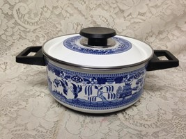 Blue Willow, Enamelware Cookware Medium Size Dutch Oven 12inL x 8.5inD x... - $37.95