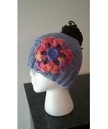 Lavender Messy Bun Handmade Crochet Hat/Pony Tail Hat - $18.00