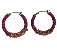 80s 90s Look Pink Orange Rhinestone Hoop Earrings Chain Wrapped Metal Je... - $11.87