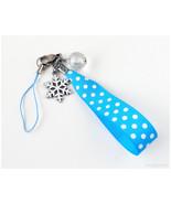 Snowflake Phone Charm, Blue Polka Dot Ribbon, Stainless Steel Clip, Gatu... - $12.00