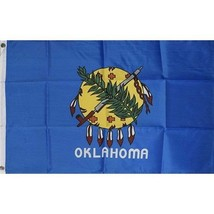 Oklahoma  State Flag 3 x 5 quality + 6 ft Woodgrain Pole + Mount made in... - $29.65