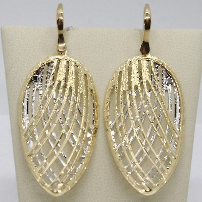 18K YELLOW WHITE PENDANT GOLD EARRINGS ONDULATE WORKED DROP DROPS MADE IN ITALY