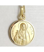 SOLID 18K YELLOW GOLD HOLY ST SAINT SANTA RITA ROUND MEDAL MADE IN ITALY... - $199.50