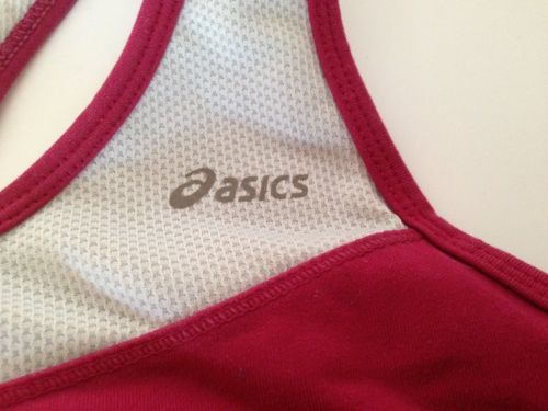 Asics Fucsia and Gray Two Layer Racer Back Sport Bra Top L