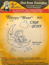 "Aunt Martha's Iron-On Transfer Sleepy Bear Crib Quilt 3832 Size 17"" x  32"" - $2.80"