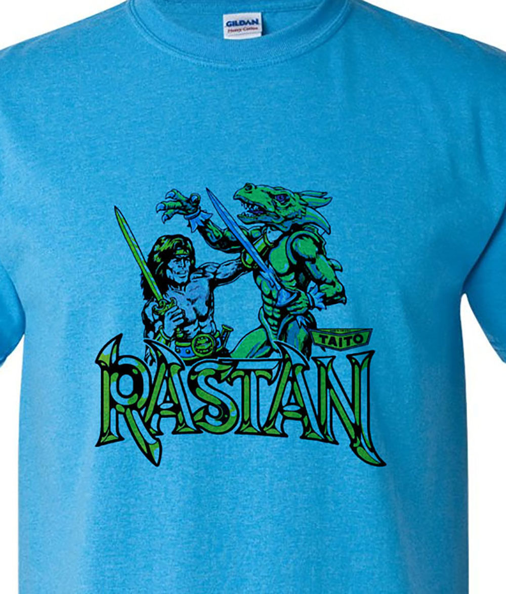 Rastan T-shirt retro 1980's arcade video game vintage Heather Blue graphic tee