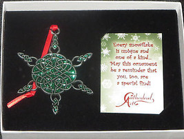 Celtic Snowflake Ornament Pewter Green Sparkly Epoxy New in Gift Box Irish  - $14.84