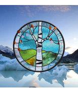 LOVE Stained Glass Window Panel aspen tree love birch tree initials wedd... - $198.00