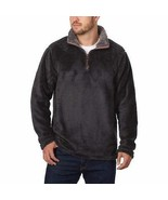 Trinity Mens Sweater Black Charcoal Pullover Plush 1/4 Zip Soft Mock Neck - $34.99