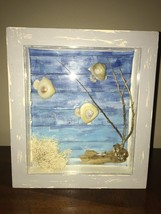 Shadow Box with handmade fish from sea shells, real salt water tree & plant - €8,72 EUR