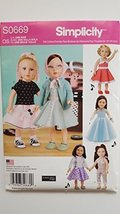 """Simplicity S0669 1950's Inspired Doll Clothes Pattern for 18"""" Doll Inclu... - $14.70"""