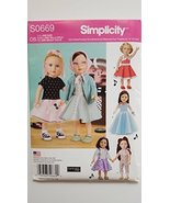 "Simplicity S0669 1950's Inspired Doll Clothes Pattern for 18"" Doll Inclu... - $14.70"