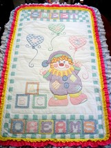 "Hand Quilted & X Stitched  ""CLOWNING AROUND""  Baby Quilt Crib Cover  - $159.99"