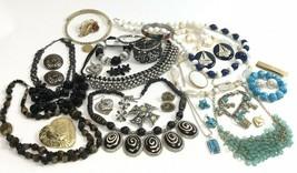 Costume Jewelry Lot Boho Mod Vtg To Modern Rhinestone Locket Blacks Blue... - $34.65