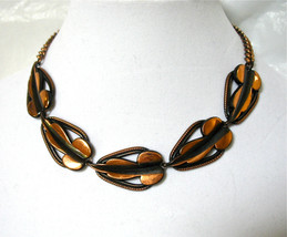 Copper Necklace, Copper Link, 1960's Modernist, Copper Medallions, Summe... - $16.00