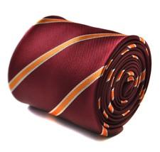 Frederick Thomas Maroon und orange Club gestreifte Krawatte