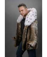 Mens Bobcat Lynx Fur Coat Fox Collar US Cites Approved/MEXA/Pelzmantel/ шубы - $1,435.50