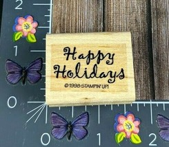 Stampin' Up! Happy Holidays Rubber Stamp 1998 Script Wood Mount #L152 - $1.24