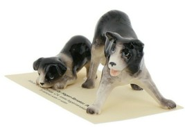 Hagen Renaker Dog Border Collie and Pup Ceramic Figurine Set