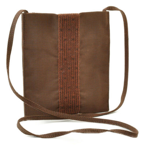 Primary image for HERMES Ale Line Canvas Mini Shoulder Bag Brown Auth 9558