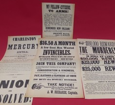 VINTAGE 1960's CIVIL WAR BROADSIDES~COLLECTION #2~ POSTERS(4)~RARE~FREE ... - $19.94