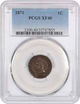 1871 1c PCGS XF40 - Scarce date - Indian Cent - Scarce date - $455.90