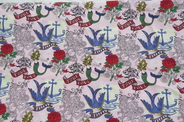 Cotton fabric by Fabric Traditions PINK TATTOO 1 1/2 yards Challis & Roos - $10.99