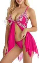 Lingerie for Women Front Closure Babydoll Lace Chemise V Neck Mesh Sleepwear 1 image 5