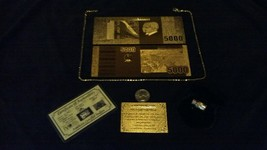 <BEAUTIFUL DETAIL>GOLD Foreign 5,000 Rep.* Banknote W/ CERTIFICATE+MORE FR - $15.57