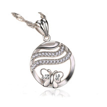 Emma Manor 14k White Gold Plated Forever Love Butterfly Pendant Necklace - $13.99