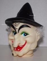 "Witch Head, Fibre Craft 3-1/2"" Spooky Halloween Vinyl Doll Head 7518 HTF - $4.95"