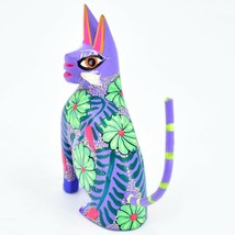 Handmade Alebrijes Oaxacan Wood Carved Painted Folk Art Sitting Cat Figurine image 2