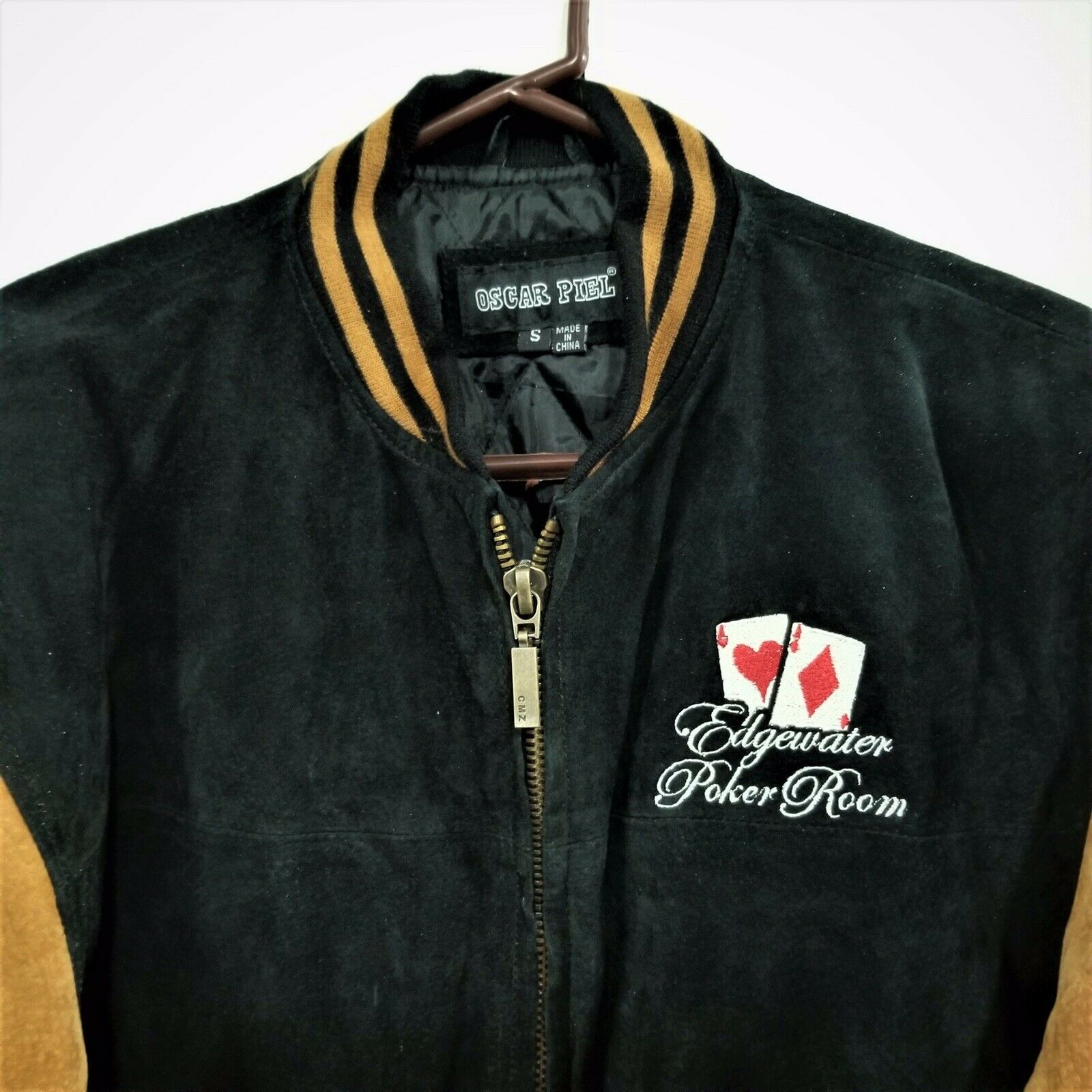"Primary image for Mens Varsity Jacket Genuine Leather ""Edgewater Poker Room"" Tan & Black - S"