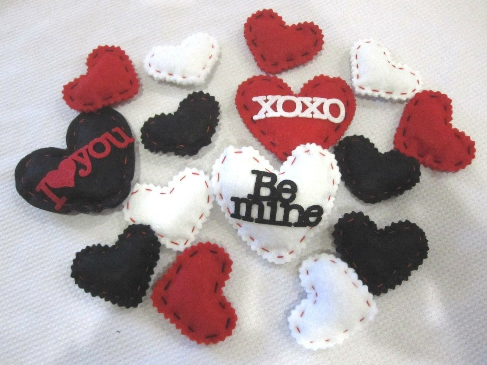 Lot of (15) Valentines Hearts Felt Decorations Bowl Basket filler