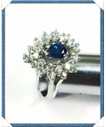 25 DIAMOND HALO RING DIAMONDS (0.75 CTw) Pear SAPPHIRE (0.72 CT) 14K Whi... - $1,195.00