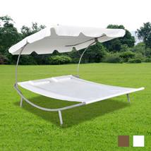 vidaXL Outdoor Double Garden Lounger w/ Pillow Hammock Seat Cream White/... - $109.99+