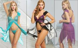 Women Sexy Lingerie  Babydoll Dress Open Front Sleepwear Set with GString Set image 2