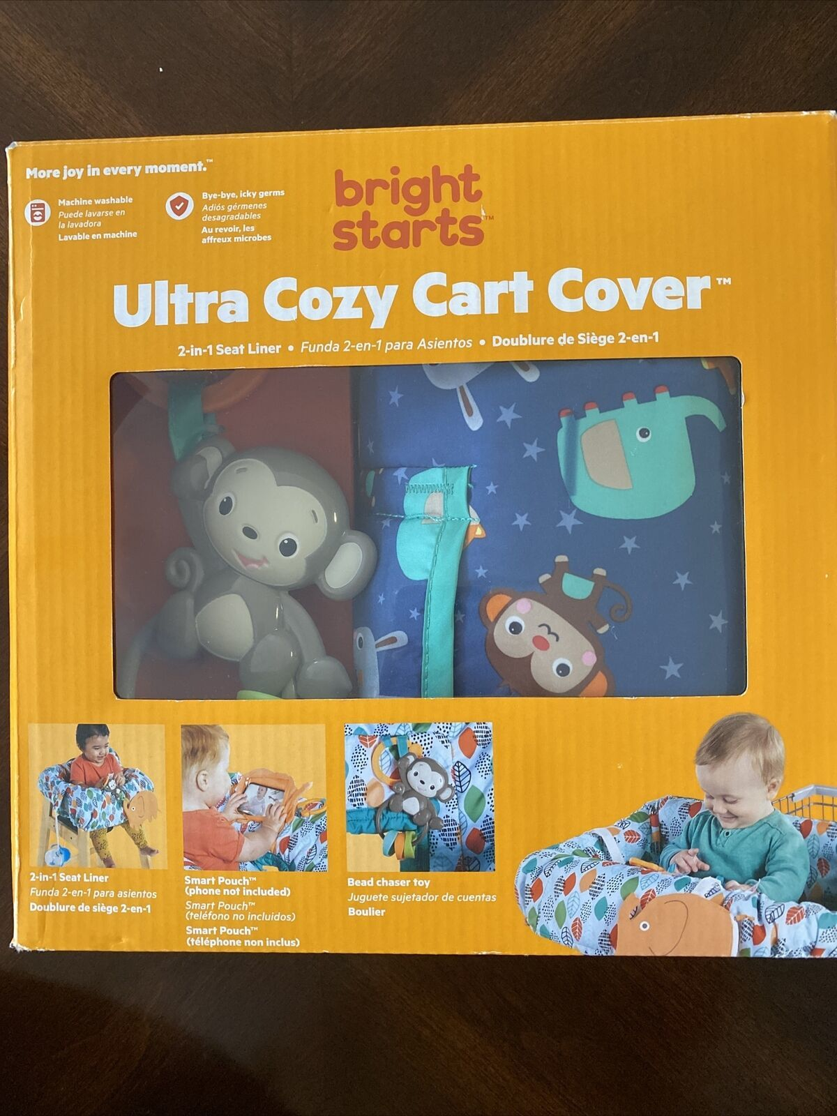 Primary image for Bright Starts Ultra Cozy Shopping Cart or High Chair Cover, Animal Pattern New