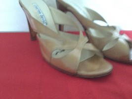 VERO CUOIO Charles David Sandals Leather Heels Nude Biege Tan Size 38 7.... - $35.00