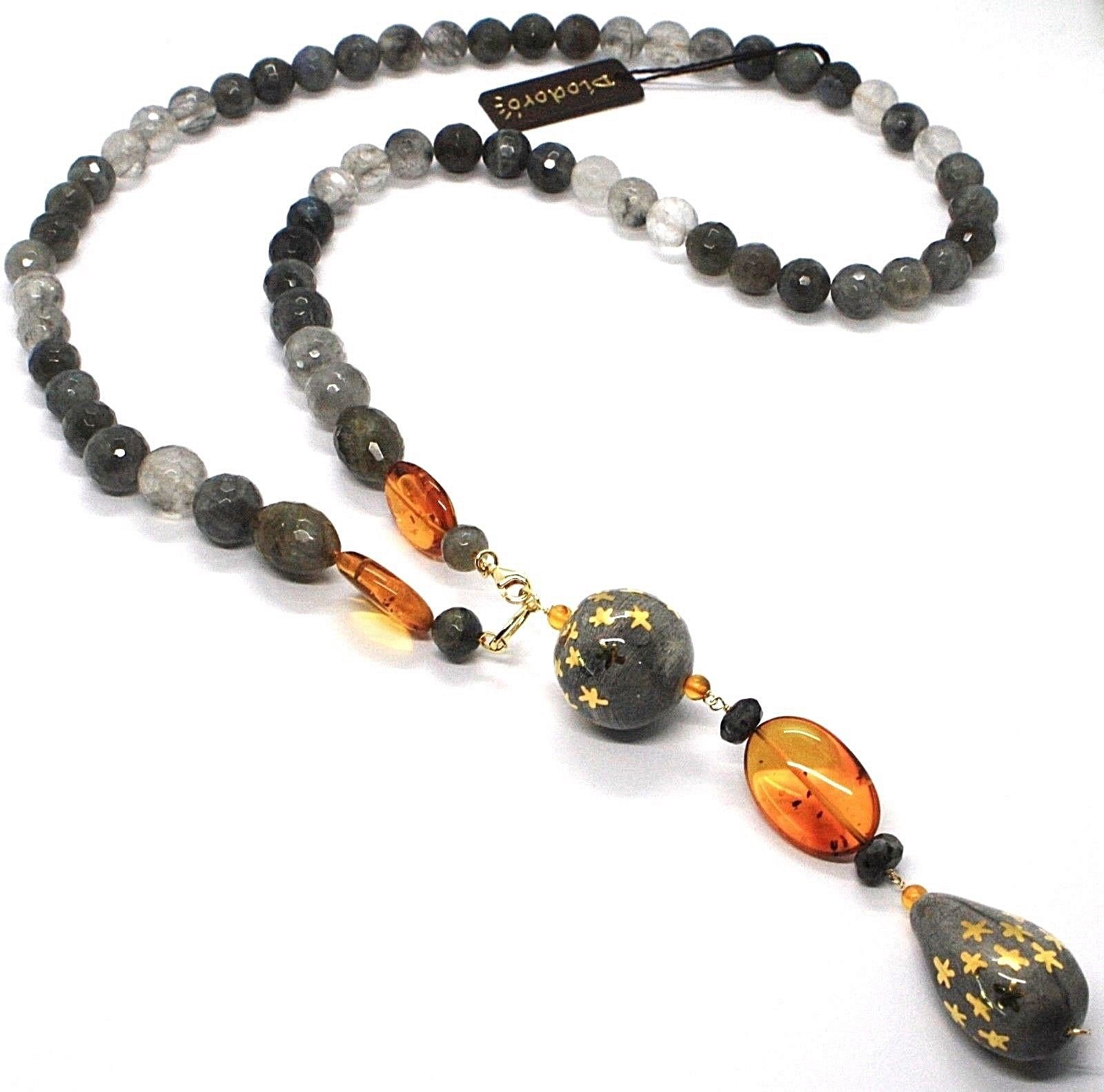 18K YELLOW GOLD LONG NECKLACE AMBER LABRADORITE QUARTZ POTTERY HAND PAINTED STAR