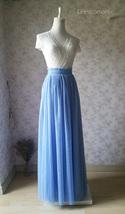 DUSTY BLUE Tulle Maxi Skirt Full Length Blue Wedding Bridesmaid Skirt Plus Size image 2