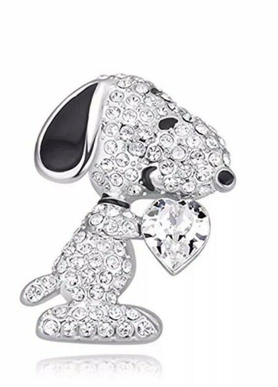 Primary image for Crystal Snoopy Dog Clear Heart Brooch Pin 18K White Gold Plated