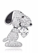 Crystal Snoopy Dog Clear Heart Brooch Pin 18K White Gold Plated - $16.71