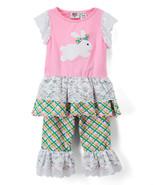 NWT Ann Loren Boutique Girls Easter Bunny Rabbit Tunic Ruffle Pants Outf... - $19.99
