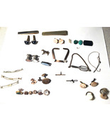 LOT VINTAGE Antique Pin Cufflink Tie Clip Misc and More 1800 Early 1900 ... - $44.55