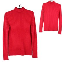 Tommy Hilfiger women's sweater turtleneck red wool long sleeve knit size LG - $16.82