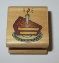 Birthday Cake Rubber Stamp Slice Candle On Plate Wood Mounted  - $2.96