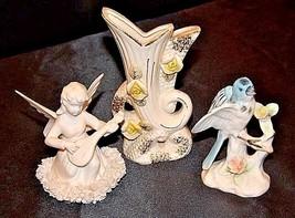Figurines Angel, Vase and Bird AA18-1271 Vintage JAPAN