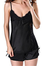 Unomatch Women Two Piece Comfortable Night Lingerie Set Black - $19.99