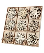 N&T NIETING 27pcs Wooden Snowflakes Shaped Embellishments Hanging Orname... - $30.00